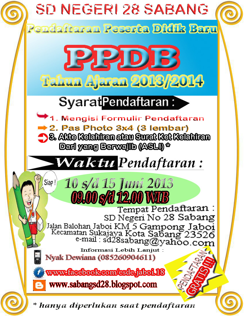 Pengumuman Penerimaan Peserta Didik Baru (PPDB) Tahun 2013