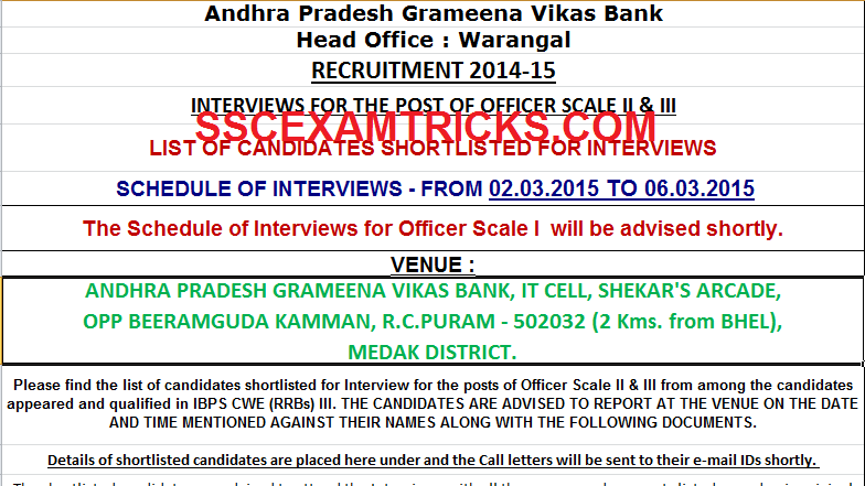 APGVB OS 2015 Interview Schedule
