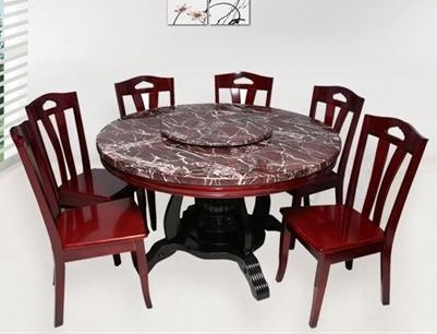 Wood Round Dining Table for 6