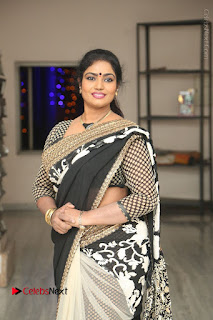 Telugu Actress Jayavani Jayavani Stills in Black Saree at Intlo Deyyam Nakem Bhayam Success Meet  0025.JPG