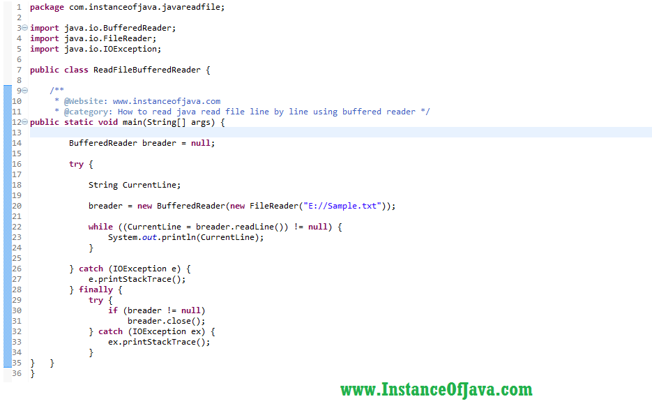 How To Read A File In Java With Example Program Instanceofjava