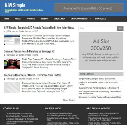 Download New Johny Wuss Simple Blogger Template by Anas Blogging Tips