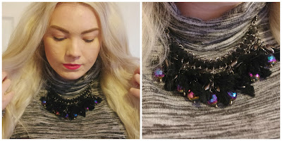 misguided black statement necklace