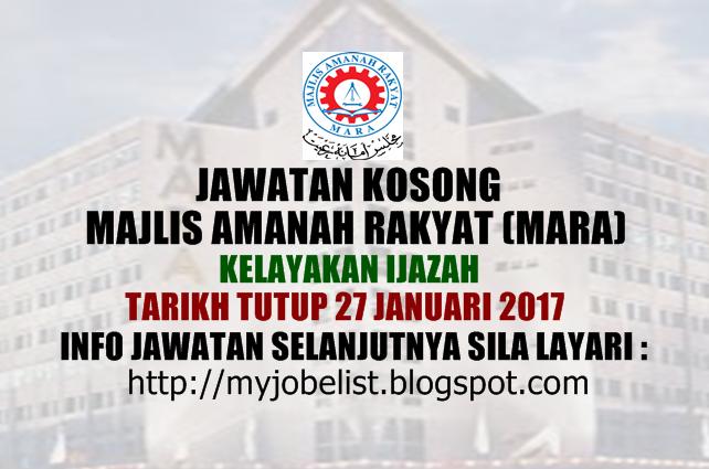 Jawatan Kosong Majlis Amanah Rakyat (MARA) Januari 2017