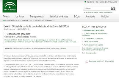 BOJA Decreto 2/2012