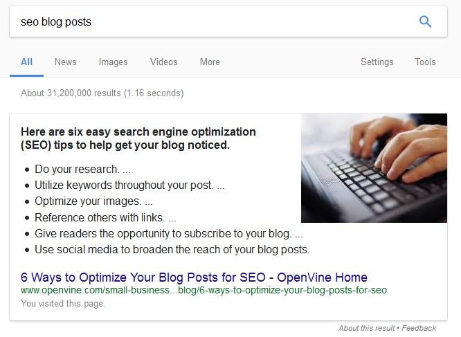 show your featured snippet  on Google search engine result page.
