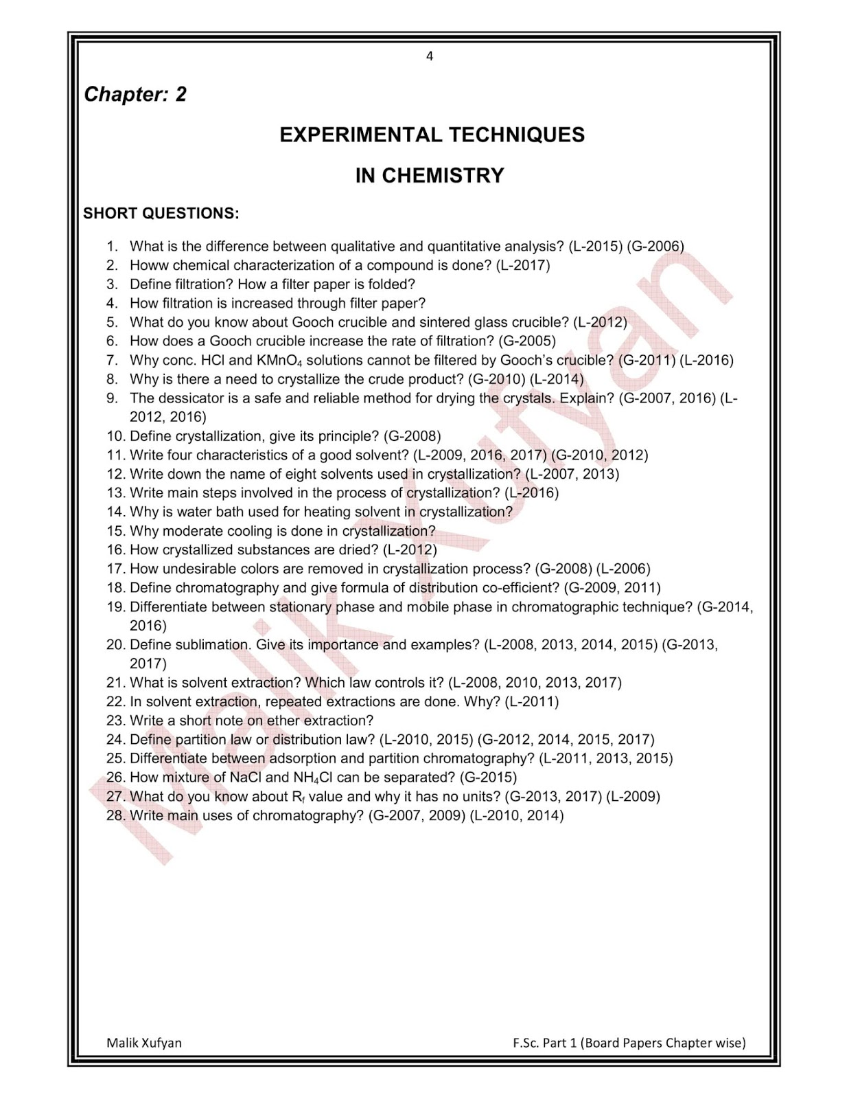 Malik Xufyan- Only Chemistry Discussion: F Sc  Part 1 Chemistry