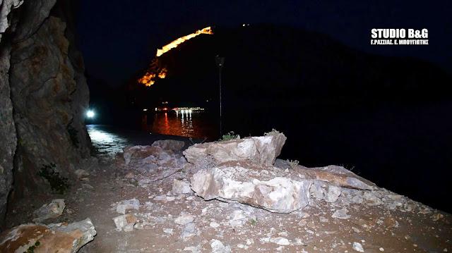 Μεγάλη κατολίσθηση στο Ναύπλιο - Έκλεισε η ομορφότερη διαδρομή της πόλης (βίντεο)