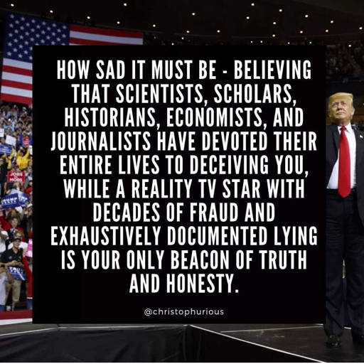 """How sad it must be - believing that scientists, scholars, historians, economists, and journalists have devoted their entire lives to deceiving you, while a reality tv star with decades of fraud and exhaustively documented lying is your only beacon of truth and honesty."""