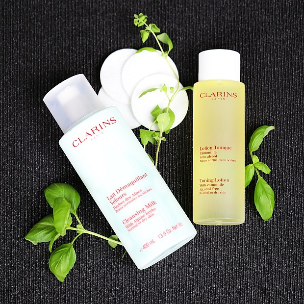Clarins Cleansing Milk With Alpine Herbs oraz Toning Lotion With Camomile