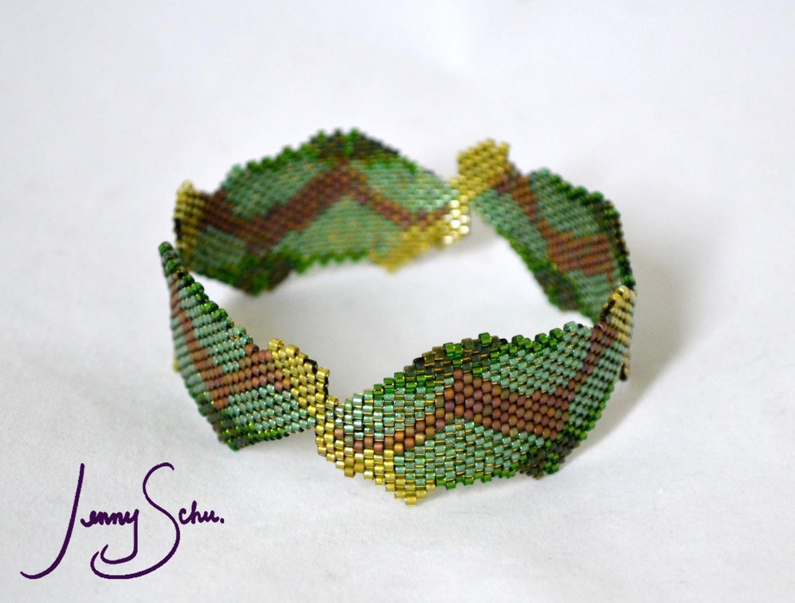 Jenny Schu: Beadweaving and Fiber Art: Maple Seed Bangle 1