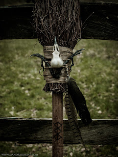 Witch Besom Broom with raven skull and claws at the top