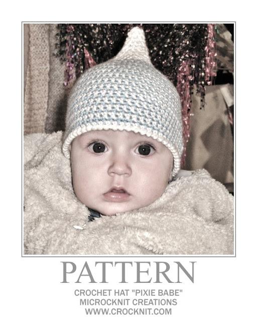 crochet patterns, baby hats, pixie hats, elf hats, baby mittens, newborn,