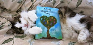 Cat with book *More Than Two* by Franklin Veaux and Eve Rickert