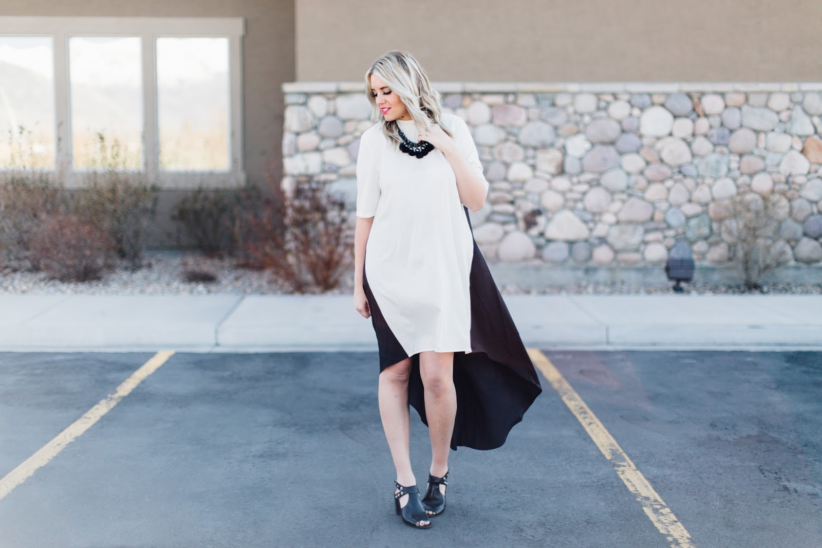 Choies, Colorblock Dress, Black and White