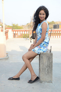 Actress Priyankha Stills in Floral Short Dress at Golmal Gullu Movie Pressmeet 0337.JPG