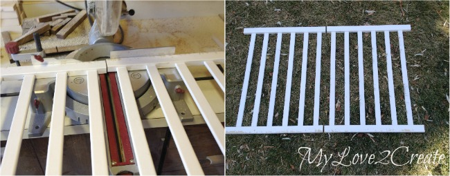 cutting crib rails in half to make gate
