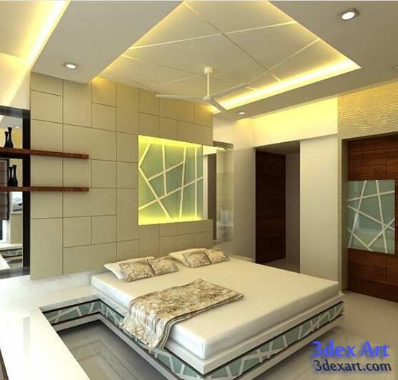 New false ceiling designs ideas for bedroom 2018 with LED lights