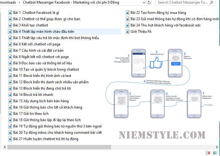 Niemstyle |  Khóa học Chatbot Messenger Facebook - Marketing với chi phí 0 Đồng