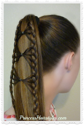 Pretty bow tie braid ponytail hairstyle. Video instructions.
