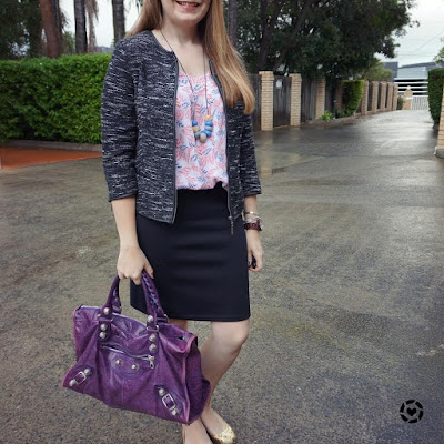 awayfromblue instagram purple Balenciaga work bag boucle blazer printed tank pencils skirt YouTube Creator Day