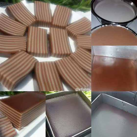 Resep Membuat Lapis Tepung Kanji Cokelat. Enak, Legit dan Kenyalnya Itu Bikin Nagih by Vita Liem
