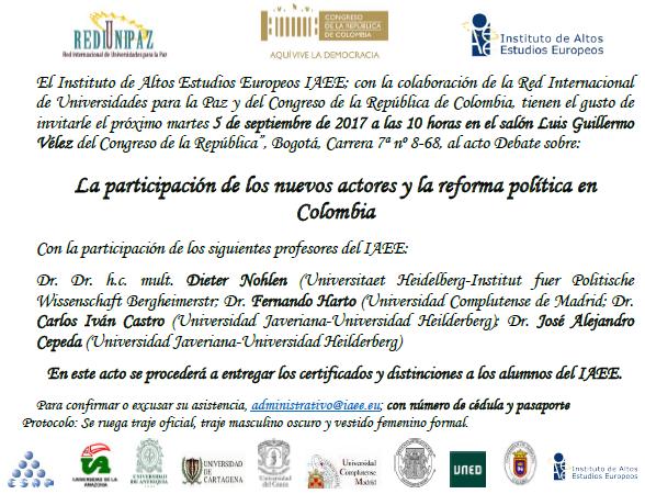 """Debate:  """"La participación de los nuevos actores y la reforma política en Colombia"""""""