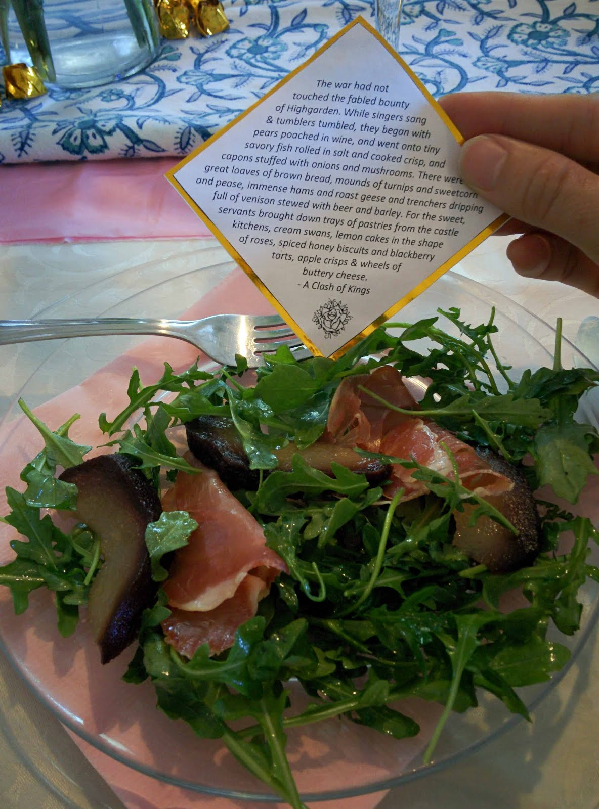 Game of Thrones: Pears poached in wine, served with prosciutto and arugula.