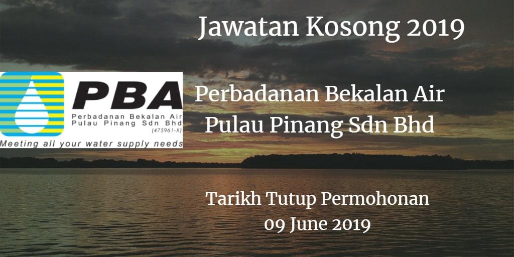 Jawatan Kosong Perbadanan Bekalan Air Pulau Pinang Sdn Bhd 09 June 2019