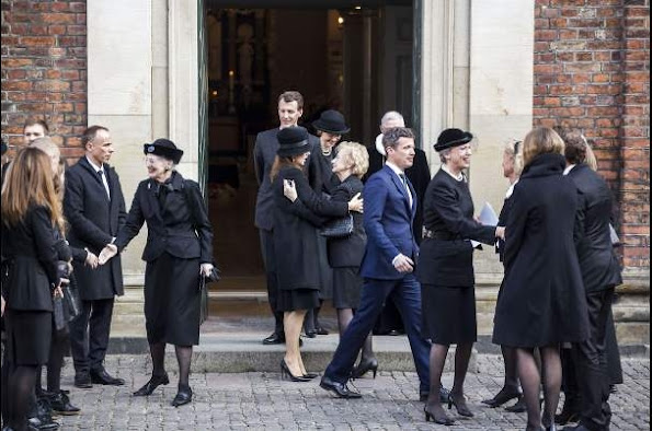 Queen Margrethe II of Denmark and Crown Prince Frederik of Denmark and Crown Princess Mary of Denmark attended the funeral of family friend Peter Heering