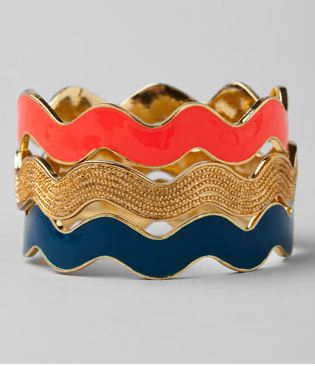 3 coral, gold and blue enamel stackable bangles