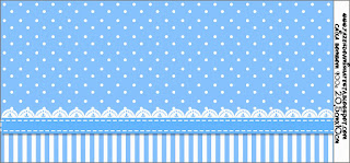 Light Blue with Stripes and Polka Dots: Free Printable Candy Bar Labels.