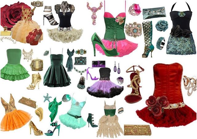 Conjuntos de Vestido, Bolso, Zapatos y Abalorios.