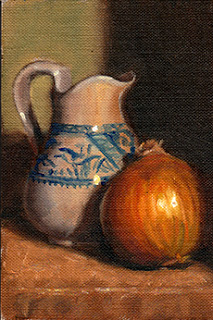 Oil painting of a blue and white porcelain jug beside a brown onion.