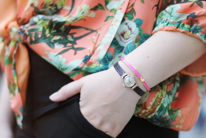 pink Kate Spade bangle bracelet tiny Zenith vintage watch