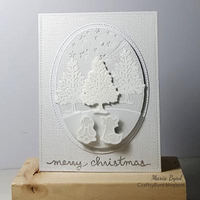 Lawn Fawn White Christmas in July Card by Maria Byrd | CrafstyByrd.blogspot.com