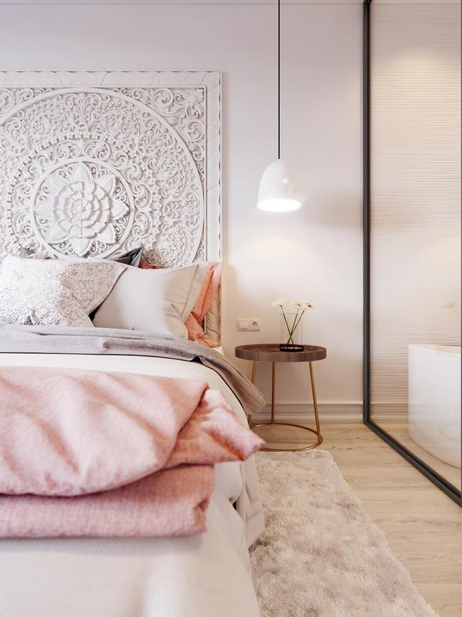 Dormitorio con cabecero exótico