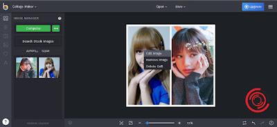 Jika ingin mengedit posisi fotonya sebelum dijadi 1 atau digabungkan silakan kalian klik kiri pada foto atau gambar yang ingin di atur posisinya, lalu pilih Edit Image