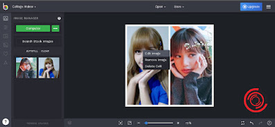 Jika ingin mengedit posisi fotonya sebelum menjadi satu atau digabungkan silakan kalian klik kiri pada foto atau gambar yang ingin di atur posisinya, lalu pilih Edit Image