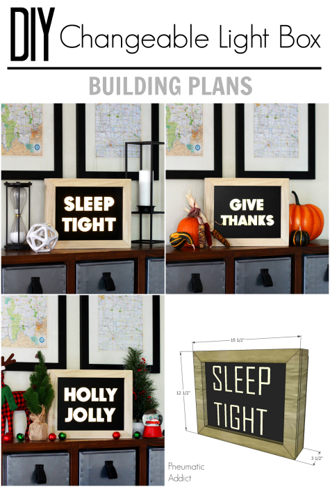 How to build a wood light box with changeable signs - FREE building plans!