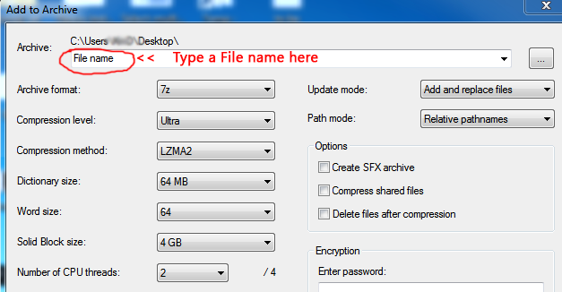 Compress 1GB file to 10MB Using 7Zip with Recommended Settings