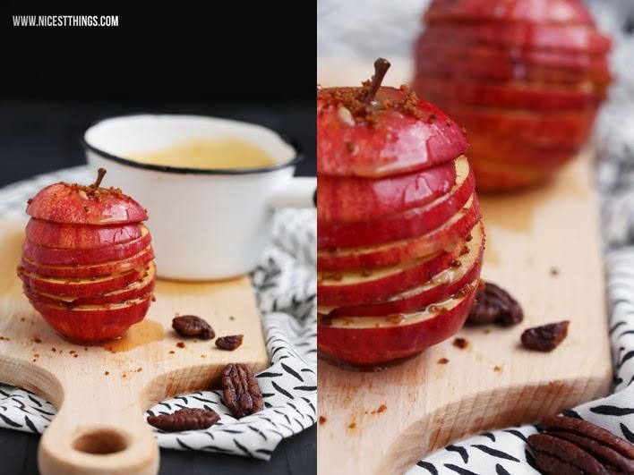 Apfel Karamell Millefeuille mit Karamell Sauce und Nüssen