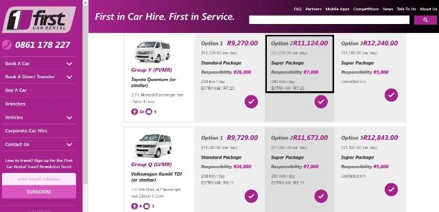 Página web de First Car Rental