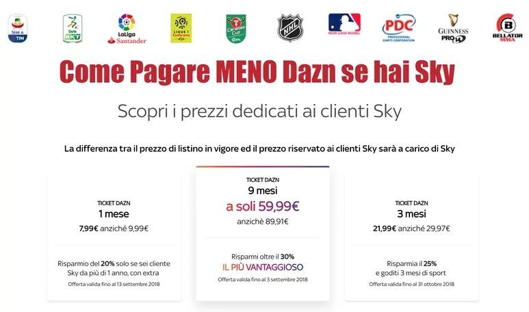 pagare meno DAZN clienti Sky con pacchetto pagamento mensili (ticket)