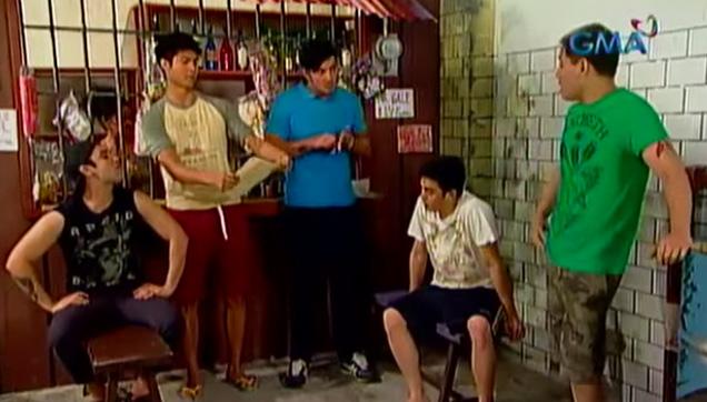 The Tambays at their Tambayan near the Sari-sari Store.