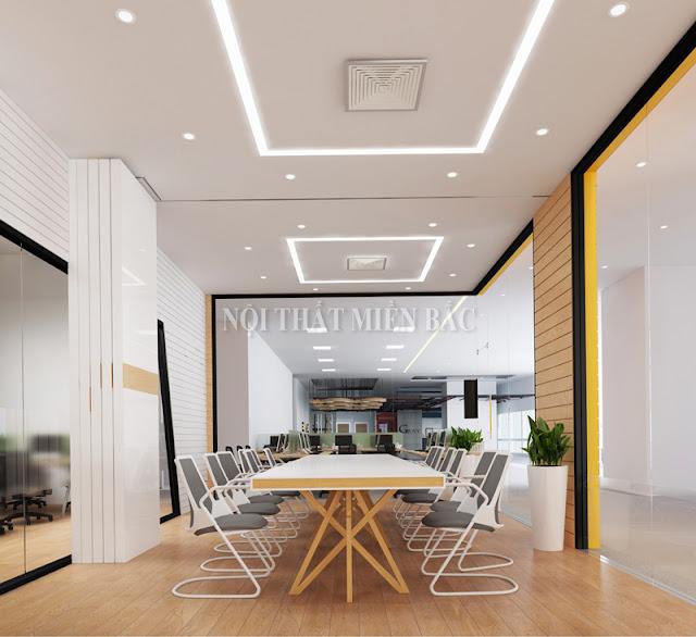 Thiết kế phòng họp ấn tượng với gam màu sắc nổi bật, độc đáo đảm bảo cho không gian căn phòng sự nhẹ nhàng, tạo cảm giác thoải mái cho người ngồi