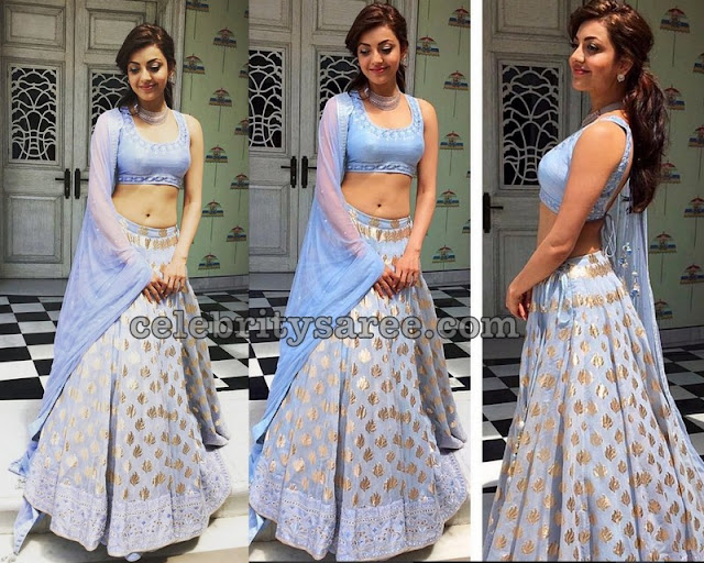 Kajal in Light Blue Benaras Georgette Lehenga