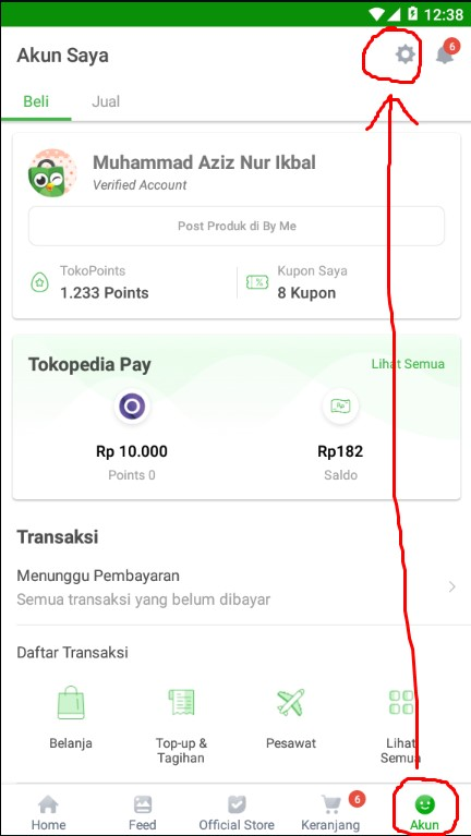 Pengaturan di Menu Akun Marketplace Tokopedia.