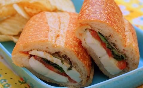 Caprese Sandwich With Mozzarella And Basil