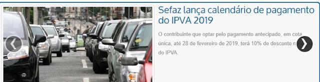 FLÁVIO DINO QUER DINHEIRO: calendário de pagamento do IPVA 2019